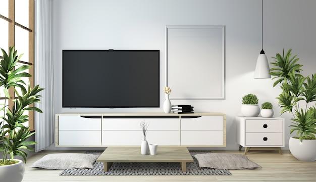 Idea of mock up cabinet wooden on modern zen room japanese style