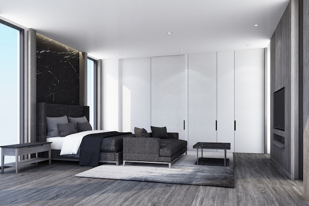 Idea of modern luxury bedroom and wooden floor with wall decorate interior design 3d rendering