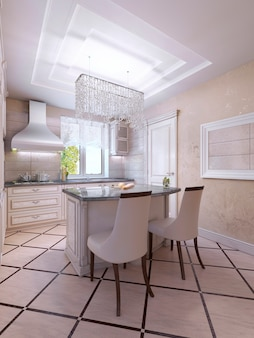 アールデコ様式のアイランドバー付きの明るいキッチンのアイデア