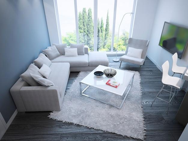 흰색 가구가있는 밝은 미니멀리스트 라운지 우아한 객실의 아이디어