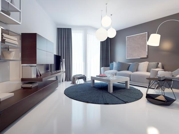 세련되고 광택이 나는 흰색 콘크리트 바닥과 현대적인 거실과 회색 벽에 대한 아이디어. 천장부터 바닥까지 내려 오는 파노라마 창문. 3d 렌더링