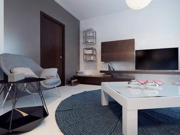 현대적인 거실과 두 개의 컬러 벽과 광택이 나는 콘크리트 바닥에 대한 아이디어.