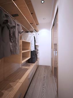 흰색 벽과 짙은 나무 바닥이있는 미니멀 한 워크 인 옷장 아이디어