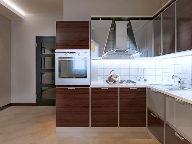 Идея современной кухни с фасадными шкафами зебрано и современной серой вытяжкой