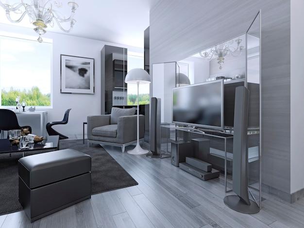 黒と白の色のワンルームマンションのアイデア。後ろに大きな鏡があるメディアセンター。 3dレンダリング