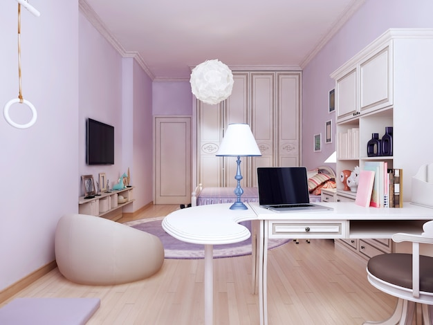 Idea of provence bedroom with working area and bright solution to connect the living and working areas.