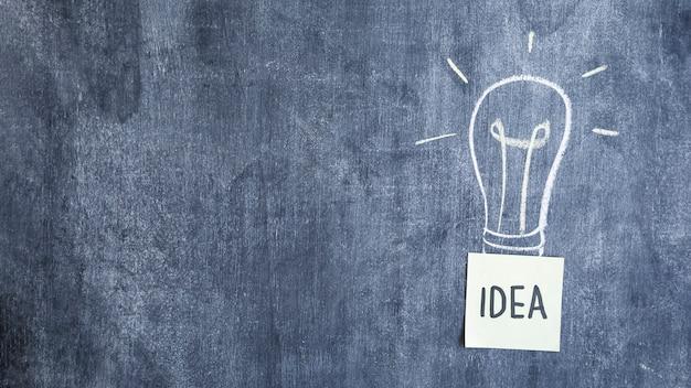 Idea text under the hand drawn light bulb on blackboard