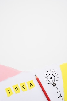 Idea text and hand drawn light bulb with pencil on paper over white backdrop