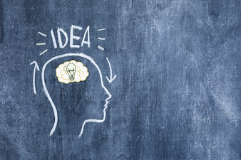 Idea text over the brain in the drawn outline face on blackboard