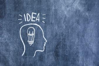 電球を黒板に描いた輪郭面のアイデアテキスト
