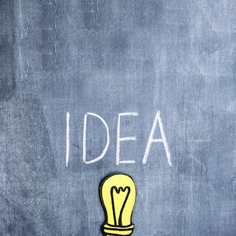Idea text written with chalk over the paper cutout light bulb on chalkboard