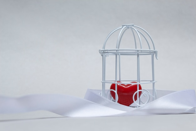 Idea on the theme of love. decorative cell with a red heart in captivity.