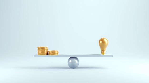 スケール上のアイデアとコイン、電球とコインを使ったウェイト。