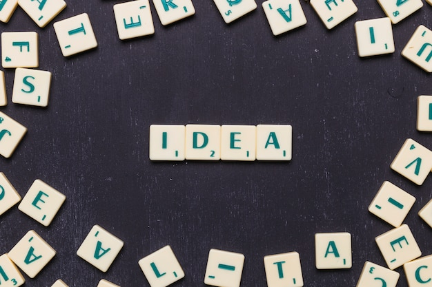 Idea word arranged with scrabble letters