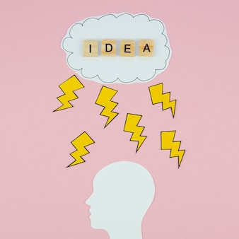 Idea word in a cloud and a head on pink background