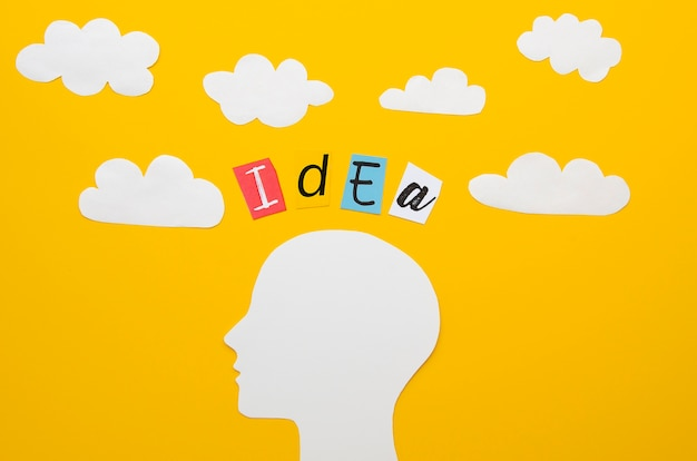 Idea word with head and clouds