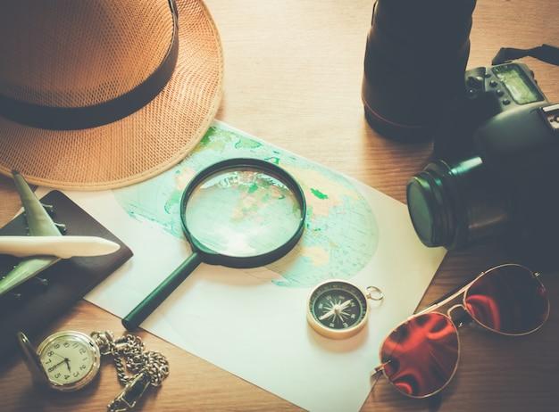 휴가 계획을위한 아이디어 여행에 필요한 장비.
