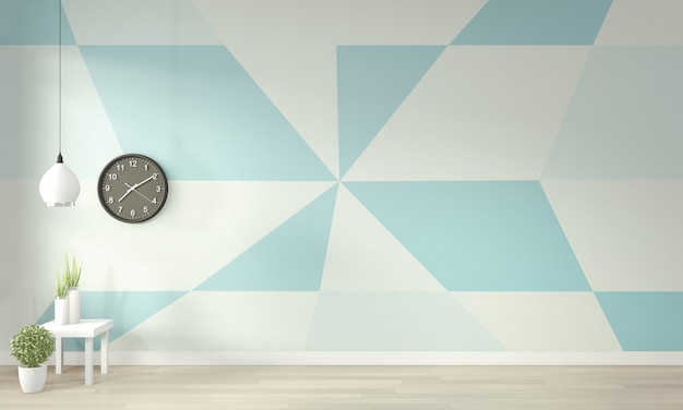 Ideas of light blue and white living room geometric wall art paint color full style on wooden floor. 3d rendering