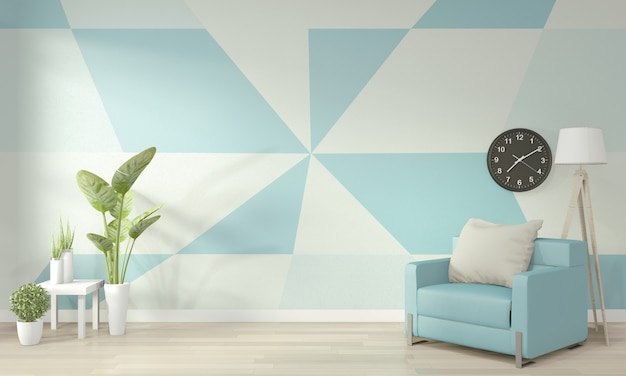 Ideas of light blue and white living room geometric wall art paint design color full style on wooden floor