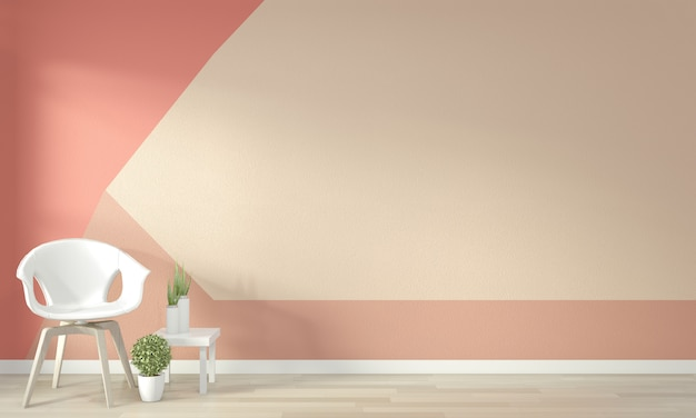 Ideas of living coral living room geometric wall art paint color full style on wooden floor. 3d rendering