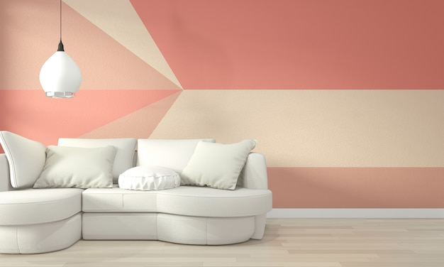 Ideas of living coral living room geometric wall art paint design color full style on wooden floor