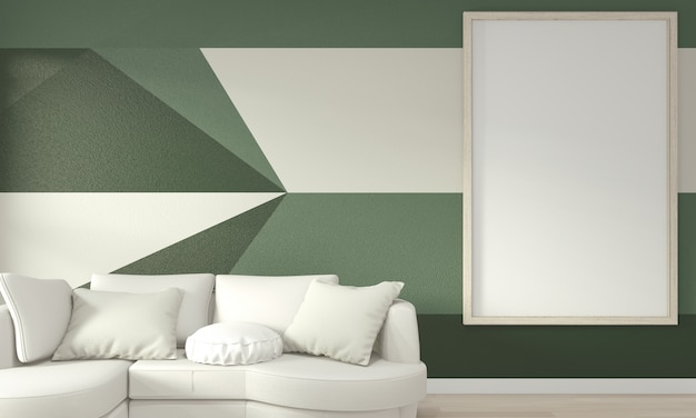 Ideas of living green room geometric wall art paint design color full style on wooden floor