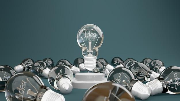 에너지와 혁신의 개념으로 파란색 배경에 연단에 대한 아이디어