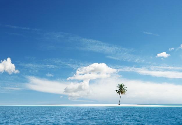 手のひらで牧歌的な楽園熱帯の島