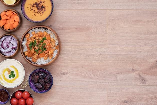 Iftar food table. evening meal for ramadan. arabic cuisine