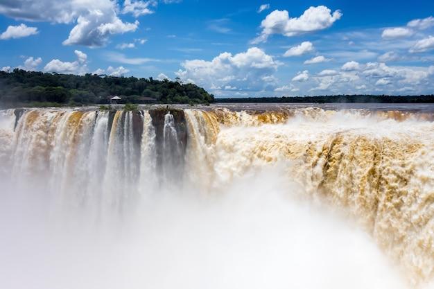 Iguazu falls national park. tropical waterfalls and rainforest landscape
