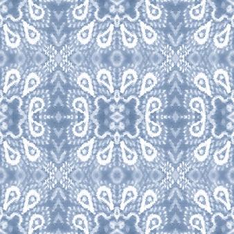이캇 배경. 블루 원활한 패턴입니다. 수채화 민족 장식입니다.