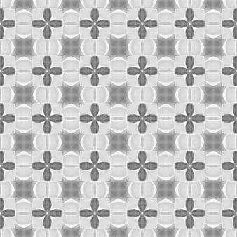 イカット繰り返し水着デザイン。黒と白のフェッチ自由奔放に生きるシックな夏のデザイン。タイルの境界線を繰り返す水彩画の絣。テキスタイル対応の好奇心旺盛なプリント、水着生地、壁紙、ラッピング。