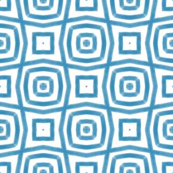 Ikat 반복 수영복 디자인. 파란색 대칭 만화경 배경입니다. 여름 ikat 수영복 패턴. 섬유 준비 시력 인쇄, 수영복 원단, 벽지, 포장.