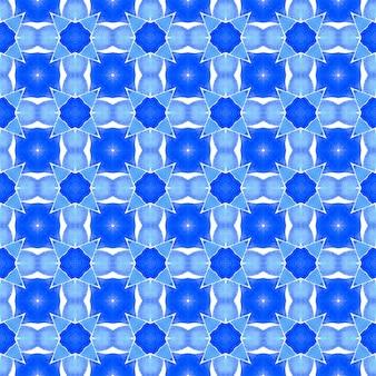 Ikat repeating swimwear design. blue terrific boho chic summer design. watercolor ikat repeating tile border. textile ready pretty print, swimwear fabric, wallpaper, wrapping.