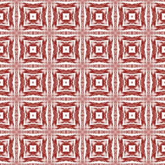 Ikat repeating swimwear design. maroon symmetrical kaleidoscope background. textile ready memorable print, swimwear fabric, wallpaper, wrapping. summer ikat sweamwear pattern.