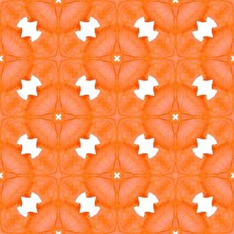 Ikat 반복 수영복 디자인. 오렌지 예쁜 보헤미안 시크한 여름 디자인. 수채화 ikat 반복 타일 테두리입니다. 텍스타일 준비 압도적인 프린트, 수영복 원단, 벽지, 랩핑.