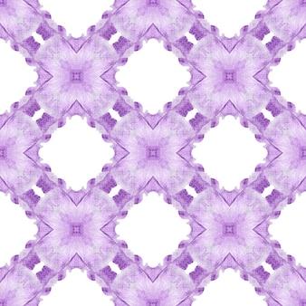 Ikat repeating swimwear design. purple delightful boho chic summer design. textile ready stylish print, swimwear fabric, wallpaper, wrapping. watercolor ikat repeating tile border.