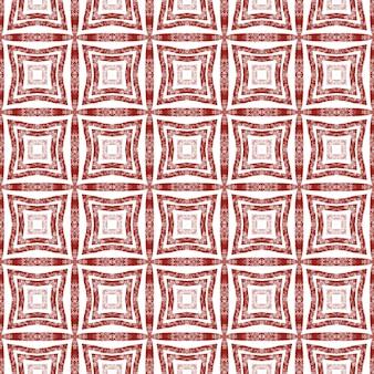 Ikat 반복 수영복 디자인. 와인 레드 대칭 만화경 배경입니다. 섬유 준비 인상적인 프린트, 수영복 원단, 벽지, 포장. 여름 ikat 수영복 패턴.