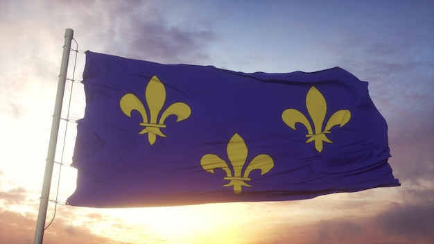 Ile de france flag, france, waving in the wind, sky and sun background. 3d rendering