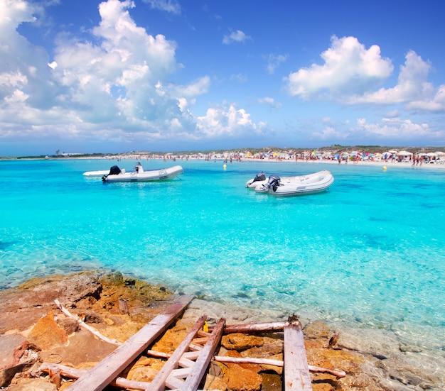 Illetes beach in formentera island in summer