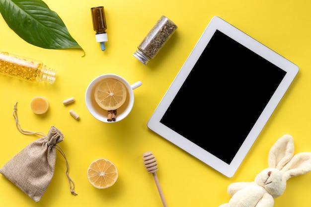 Illness concept. composition alternative medicine. herbal tea, ginger