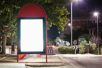Illuminated blank billboard for advertisement at bus station