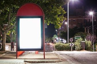 Illuminated blank billboard for advertisement at bus station
