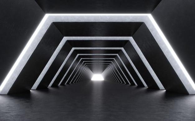 조명 복도 내부. 3d 렌더링