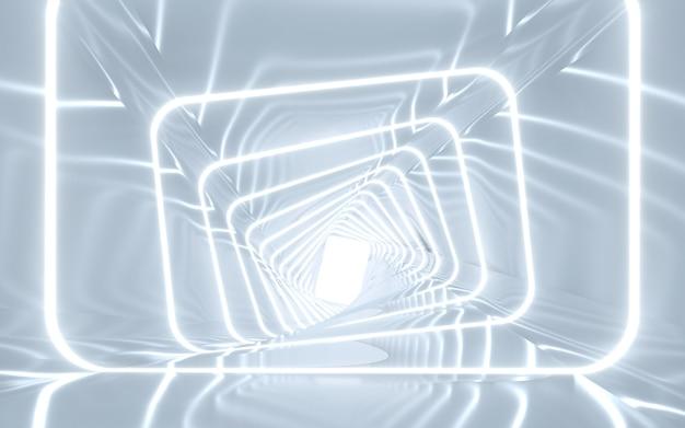 조명 복도 인테리어 디자인. 3d 렌더링