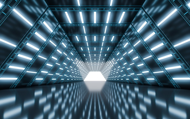 Illuminated corridor tunnel with light