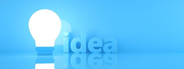 Illuminated light bulb over blue background, creative idea concept, 3d render, panoramic image