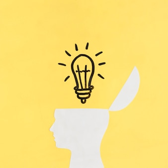 Illuminated light bulb over open human brain on yellow backdrop