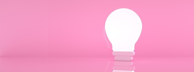 Illuminated light bulb over pink background, creative idea concept, 3d render, panoramic image