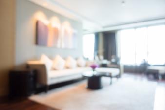 Illuminated living room with white rug